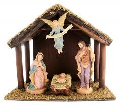 nativity sets digiovanni nativity set with wood stable 6 inch figures from