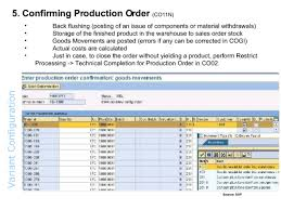 sap production order table variant configuration overview
