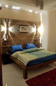 bed back wall design diy pallet bed with wall headboard lamps u0026 shelf