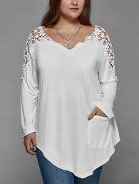 plus size lace insert sleeve tunic t shirt white xl in plus