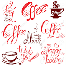 set of coffee cups icons stylized sketch symbols and hand drawn