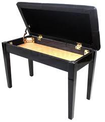 black leather piano bench ebony wood double duet keyboard seat