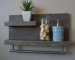 Brushed Nickel Bathroom Shelves Handmade Bathroom Shelf With Satin Nickel Finish Rail Towel Hooks