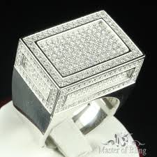 diamond ring for men design signet style pave set square design men lab diamond ring big loo