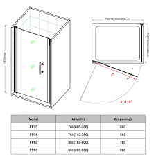 800 Pivot Shower Door by 760mm Frameless Hinged Shower Door