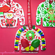sugartown sweets ugly christmas sweater ornaments using melted
