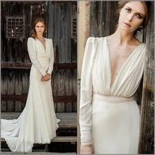 elegant boho wedding dresses full sleeve v neck mermaid sweep