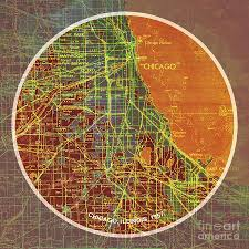 Frank Lloyd Wright Houses Chicago Map by Chicago 1957 Old Map Chicago Frank Lloyd Wright Quote Painting By