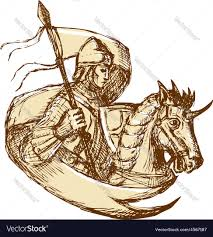 Joan Of Arc Flag Knight On Horse Holding Flag Drawing Royalty Free Vector