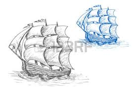 old sailing ship sketch with billowing sails and flags in stormy