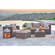 Dark Wicker Patio Furniture by The Hom Caribe 4 Piece All Weather Dark Brown Wicker Patio Seating