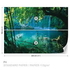 tropical waterfall lagoon wall mural photo wallpaper 1783dk ebay tropical waterfall lagoon wall mural photo wallpaper 1783dk