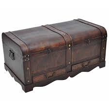 vintage large wooden treasure chest brown coffee table vidaxl com