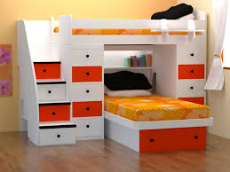 space saver bed with white red tone combine single orange bed with