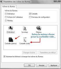 changer icone bureau tutoriel icônes corbeille l installation sous windows 7 ou vista