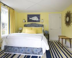 Blue And White Bedroom Wallpaper Blue And Yellow Drapes Living Room Beach Style With White Side