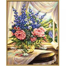 premium paint by numbers flowers by the window schipper from