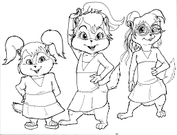 new the chipettes coloring pages 11 for line drawings with the