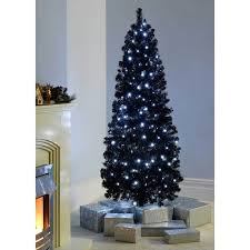 pre lit slim black christmas tree with 200 white led lights 6 ft