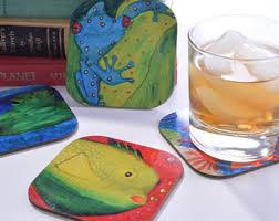 Unique Drink Coasters Frog Coasters Etsy