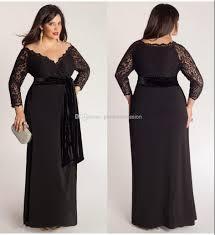 Cheap Clothes For Plus Size Ladies Black Plus Size Lace Long Sleeve Sheath Chiffon Evening Dresses V