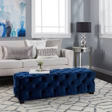 blue furniture piper tufted velvet fabric square ottoman bench by christopher