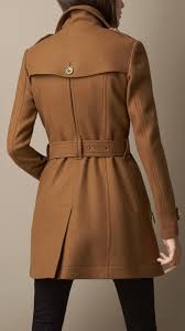 burberry short double wool twill trench coat in brown lyst