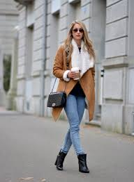 womens boots look s shearling coat black sleeve blouse light blue