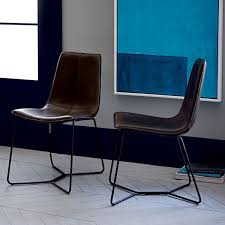 Coloured Leather Dining Chairs Leather Slope Dining Chair West Elm Au