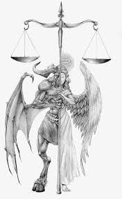 imagenes animadas de justicia gratis la equidad justicia medio ángel la mitad diablo pintado a mano de