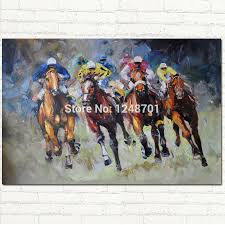 abstract large oil painting palette knife riding horse canvas painting wall art for living room home decor pictures hand painted in painting calligraphy