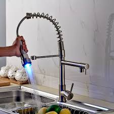 rozin led light spray kitchen sink faucet spring mixing tap