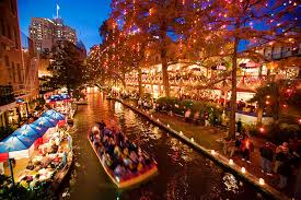 downtown san antonio christmas lights on the riverwalk san antonio texas usa