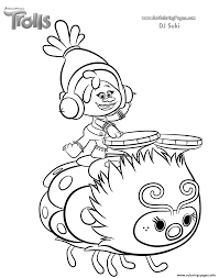 dj suki of trolls movie coloring pages printable