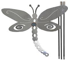 large metal dragonfly yard stake contemporary garden statues