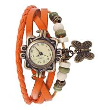 girls leather bracelet images Vintage butterfly analog watch for girls orange leather bracelet jpg