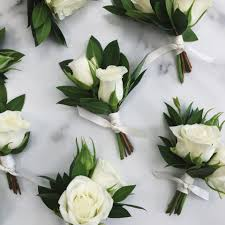 Mens Boutineer Example Of White Spray Roses In A Boutonniere Could Include One