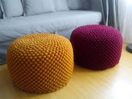crochet mustard yellow bordeaux cherry round pouf wool