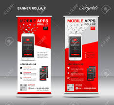 Stand Up Flag Banners Mobile Apps Roll Up Banner Template Stand Layout Red Banner