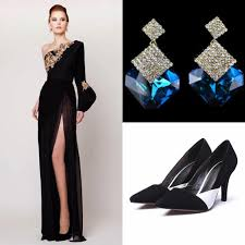 2017 prom dresses with earrings with shoes split side azzi u0026 osta