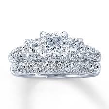 princess cut wedding set diamond bridal set 1 1 3 ct tw princess cut 14k white gold