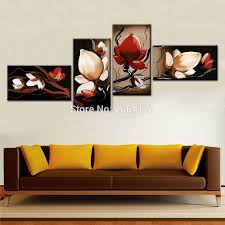 online get cheap oil canvas painting red flower abstract modern