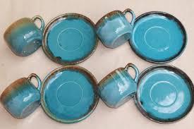 vintage drip glaze l california rustic vintage stoneware pottery dishes ocean blue w