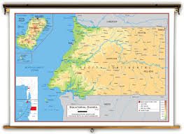 Physical Africa Map by Equatorial Guinea Physical Educational Wall Map From Academia Maps