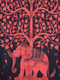 vermilion red elephant curtain panel tree of life window