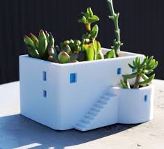 Cute Flower Pots by Greek House House Planter Summer Gift 3d Printed Miniature