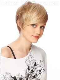 short haircut with ear showing lovely sideswept blonde short haircut long bangs long pieces