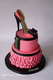 shoe cake topper stiletto cake topper pink and black open toe shoe done in