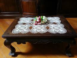 tablecloth for coffee table dosymphony rectangular crochet tablecloth lace table runner cream