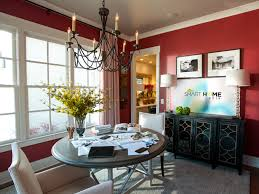 beautiful red accent on large wall near big glass window beside